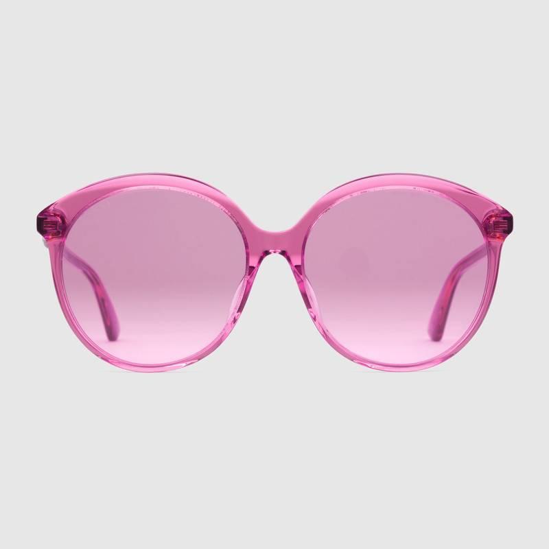 saldi 100% genuino saldi Occhiali da sole rotondi Gucci in acetato dalla vestibilità ottimale  GG0257SA