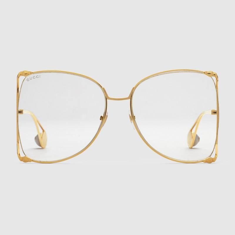 nuovi prezzi più bassi uomo valore eccezionale Occhiali rotondi da vista Gucci oversize in metallo GG0252S